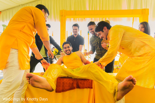 Groom during the pre wedding rituals