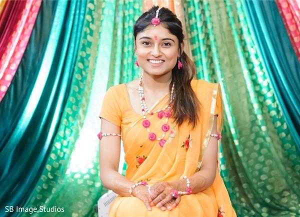 Enchanting Indian bride ready for haldi.