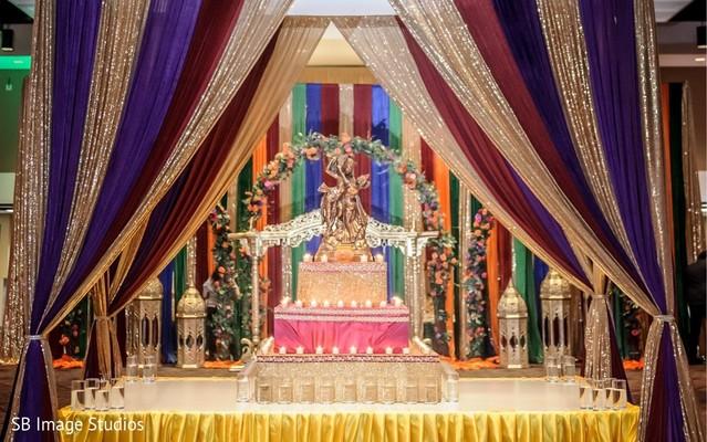 Stunning sangeet mandap decoration for Vishnu Laxmi.