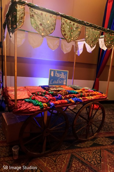 Carriage with favors for sangeet ladies guests.