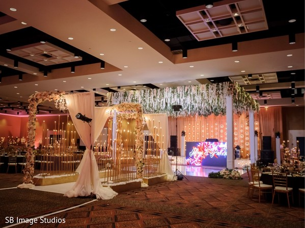 Dreamy indian wedding reception stage set up.