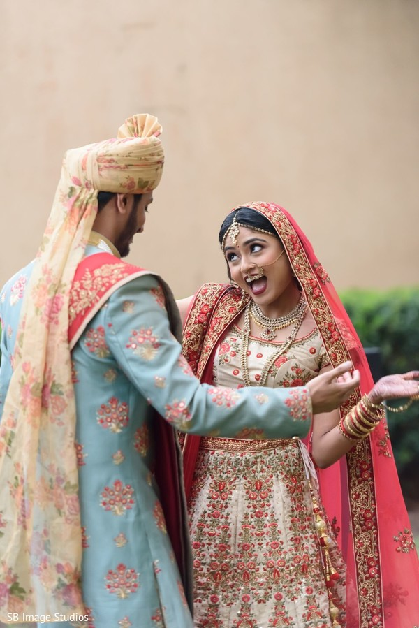 Lovely Indian couple at their first look.