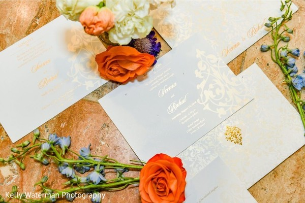 Elegant Indian wedding invitations.
