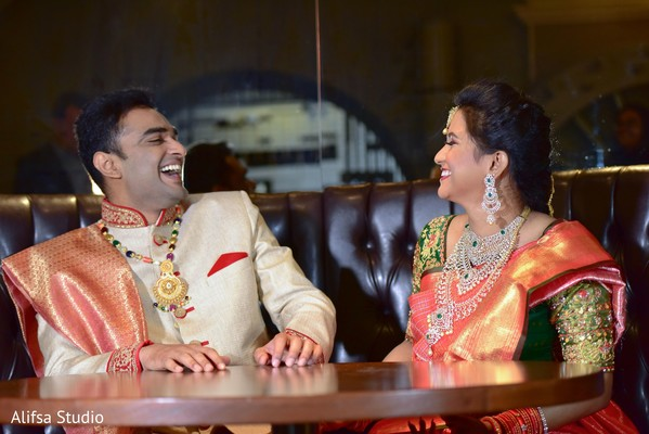 Adorable Indian bride and groom face to face portrait