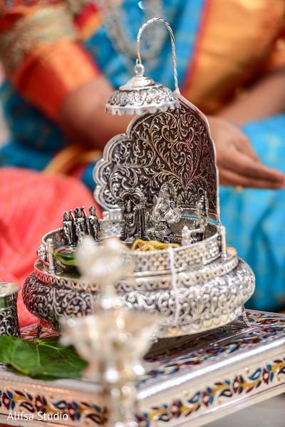 Incredible Indian wedding Ganesha Puja altar.