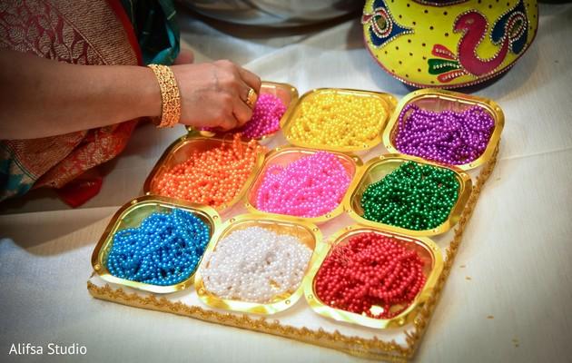 Closeup capture of Indian wedding ritual accessories.