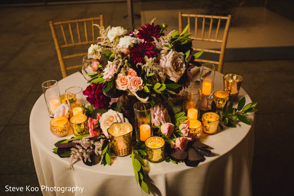 Floral arrangements on the table