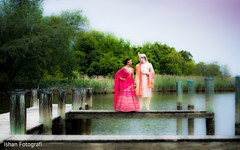 Indian groom and bride posing