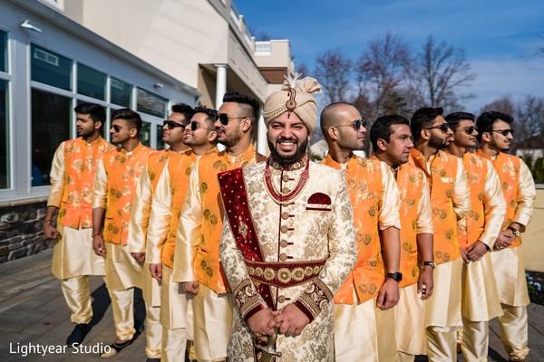 Memorable Indian groom and groomsmen capture.