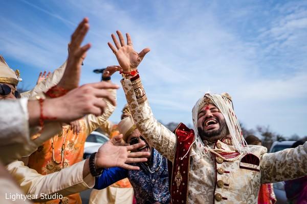 Elegant indian groom during baraat.