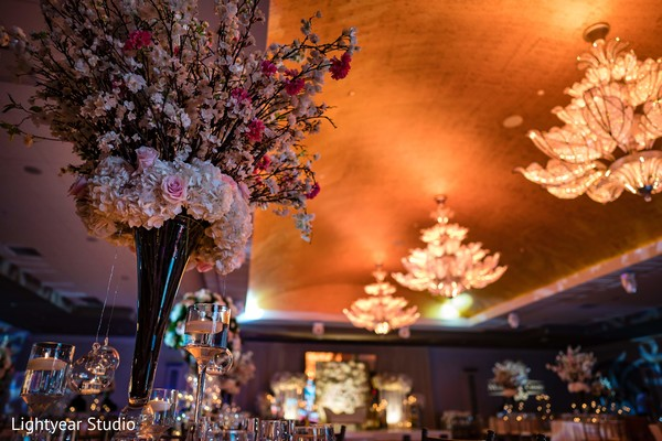 Indian wedding reception flowers decor.