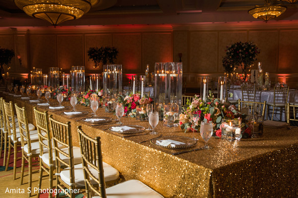 Marvelous Indian wedding table and lights decoration.