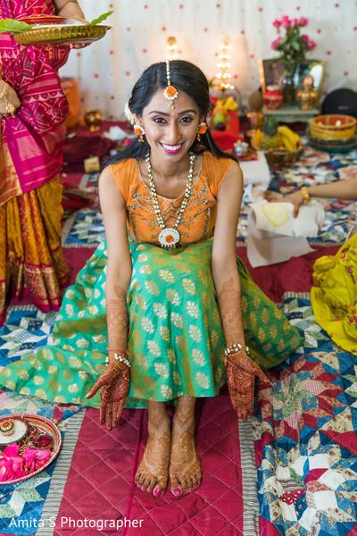 Lovely maharani at her haldi ritual.