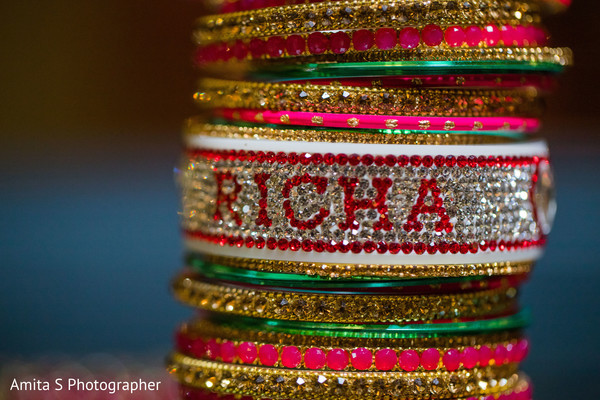 Personalized Indian bridal ceremony bangles.