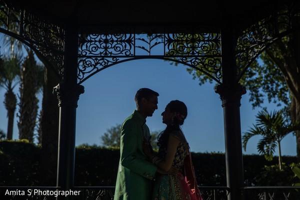 Romantic Indian couple silhouettes capture.