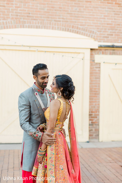 Sweet shot of Indian couple outdoors.