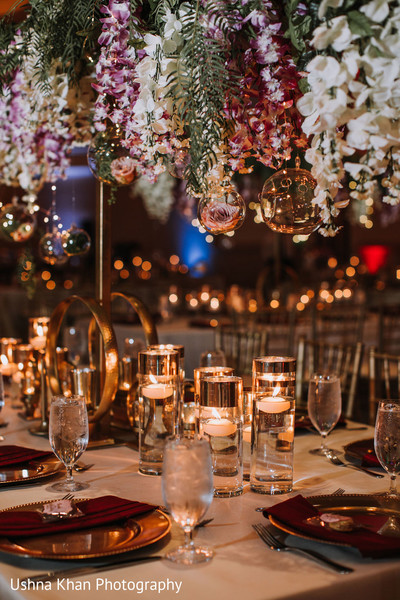 Impressive Indian Wedding reception table decor.
