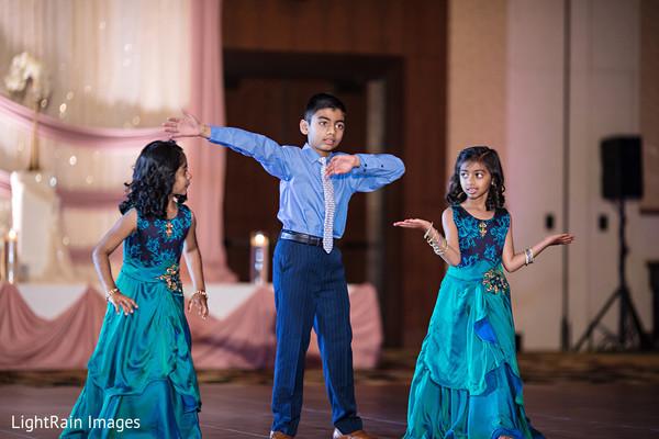 Lovely Indian wedding reception dancers.