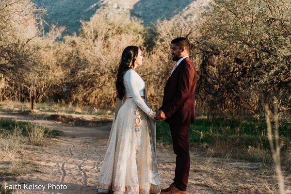 Indian bride and groom posing