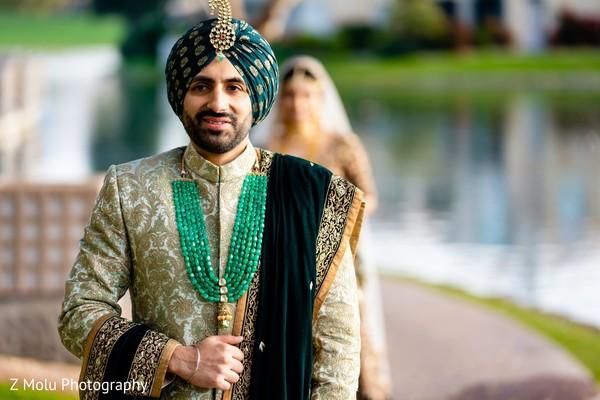 Indian groom looking dazzling