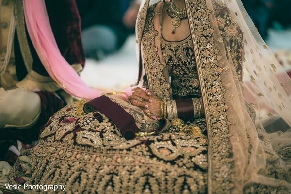 Maharani holding the ceremony veil.