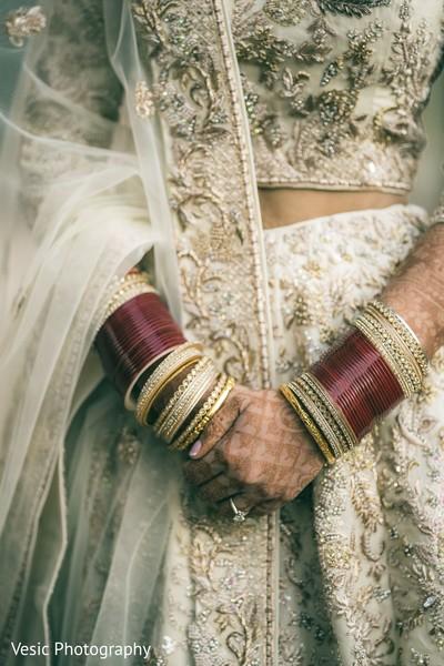 Closeup capture of Indian bride's ceremony fashion.