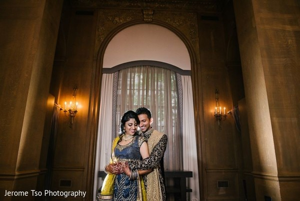 Indian bride and groom during the photoshoot