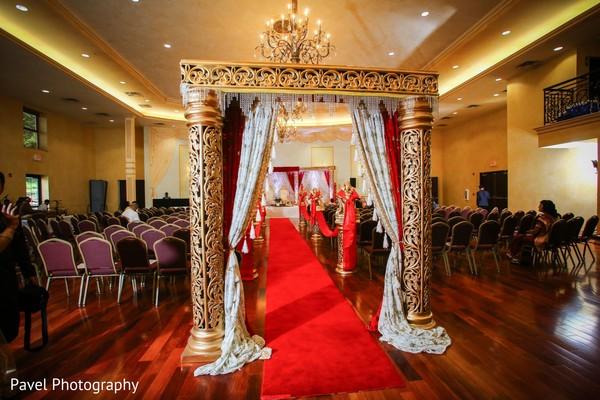 Magnificent Indian wedding ceremony aisle entrance decor.