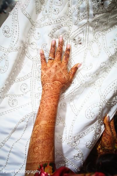 Closeup capture of Indian bridal reception dress.
