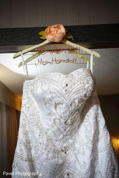 Beautiful personalized Indian bridal white dress hanger.