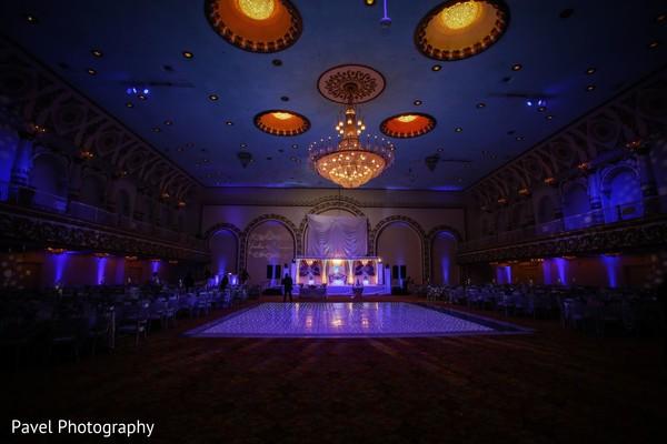 Magnificent Indian wedding reception venue decoration.