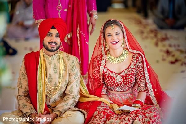 Cheerful indian wedding reception ceremony