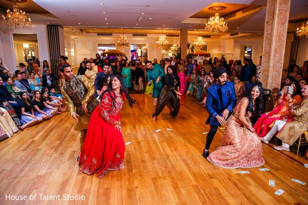 Indian bridesmaids and groomsmen Sangeet dance choreography.