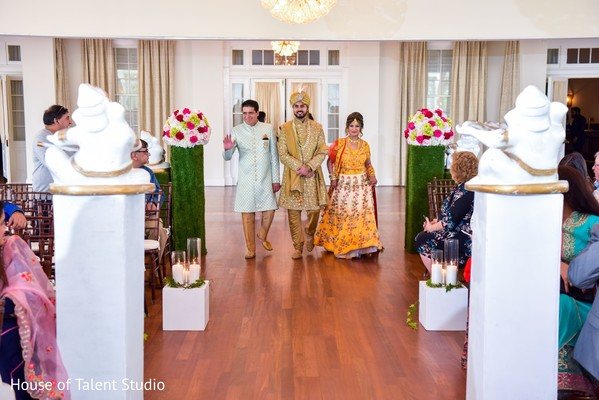 Indian groom entrance to wedding ceremony.
