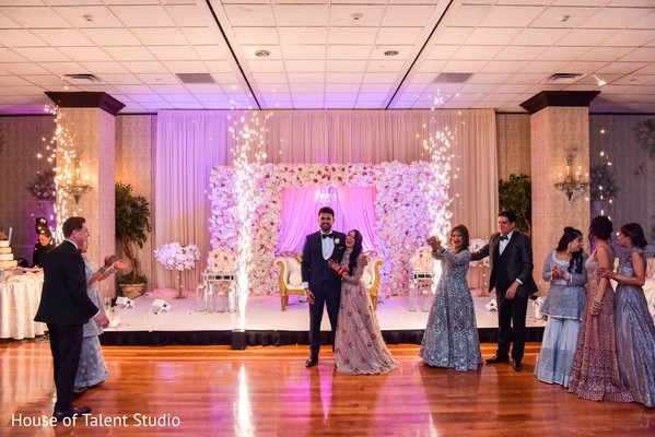 Adorable indian newlyweds making their entrance