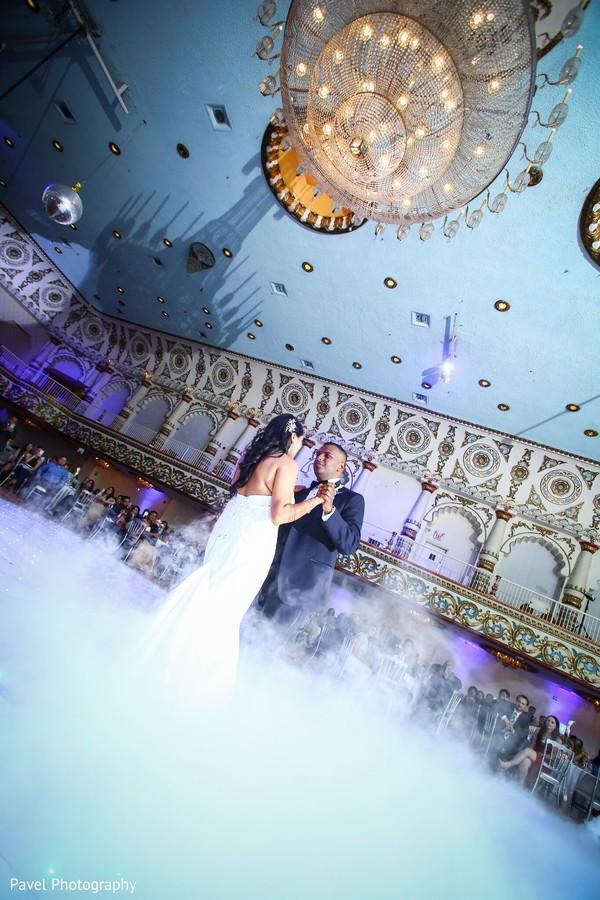 Indian lovebirds at reception dance.