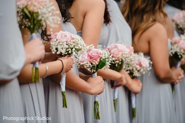 Elegant Indian bridesmaids bouquets.