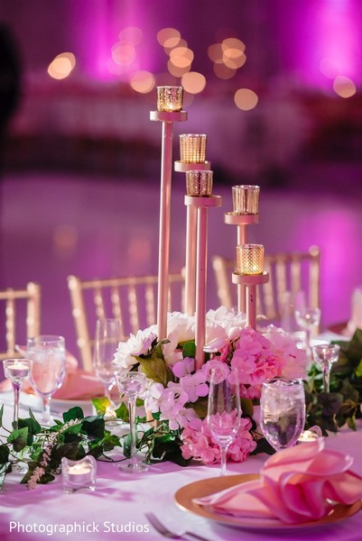 Dreamy table decoration with flowers.