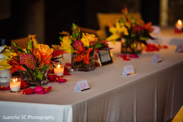 Graceful floral centerpiece and name tags