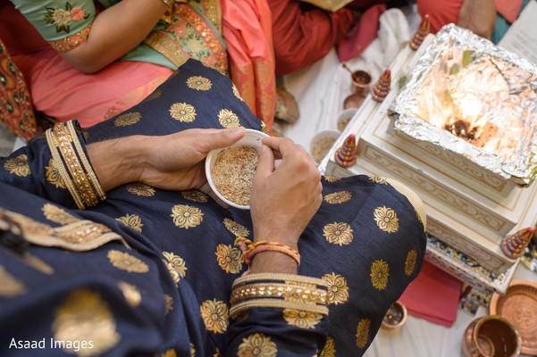 Closeup capture of Indian pre-wedding rituals.