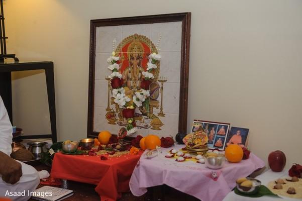 Indian pre-wedding altar decoration for Ganesha Puja.