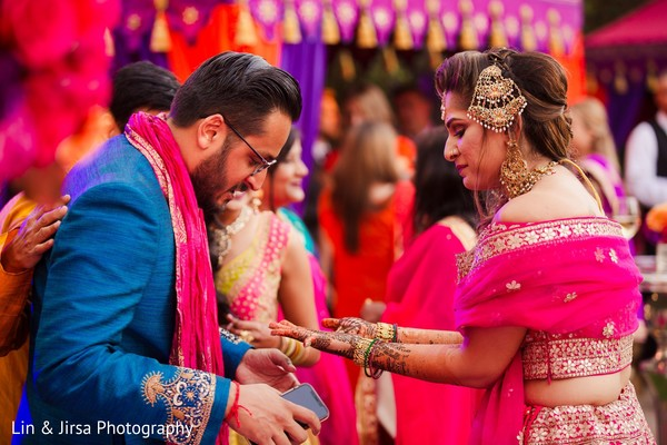 Indian bride and groom at their pre-wedding celebration.
