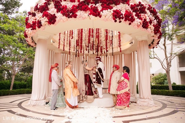 Sweet indian couple at their wedding ceremony.