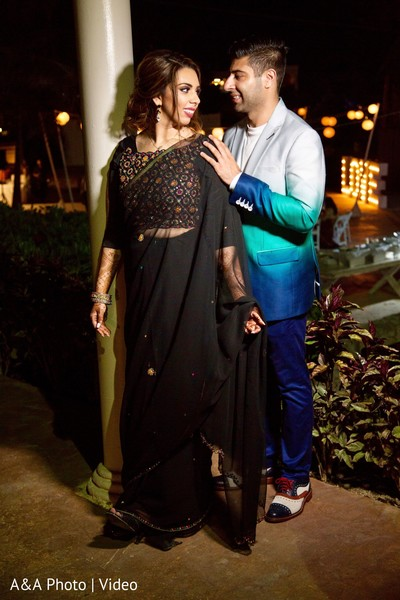 Indian groom and bride dinner fashion