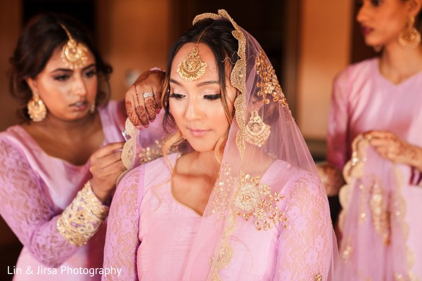 Gorgeous bridesmaid getting ready