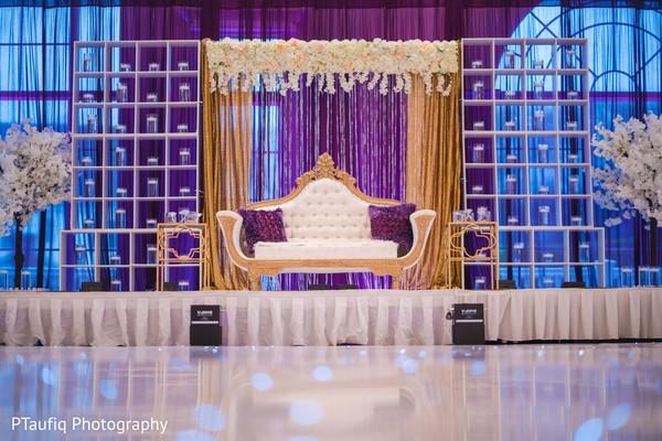 Elegant Indian wedding reception stage decor.
