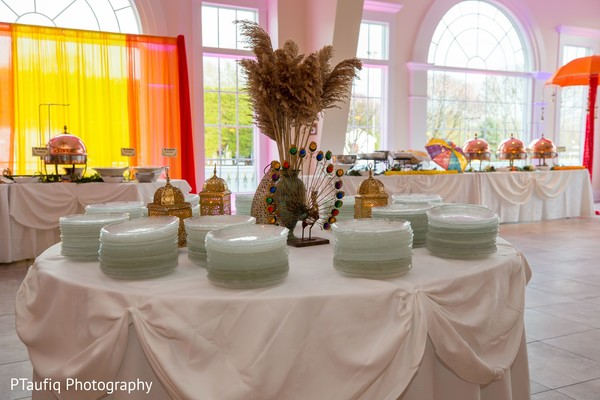 Marvelous Indian sangeet tableware setup.