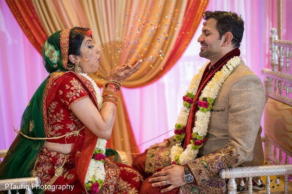 Indian couple at ceremony ritual.