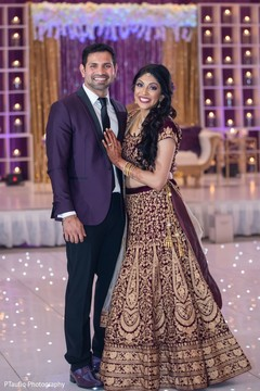 Lovely Indian couple on their reception outfits.