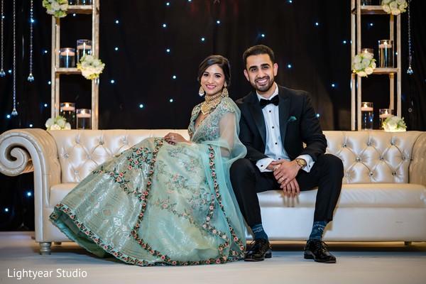 Happy Indian newlyweds.